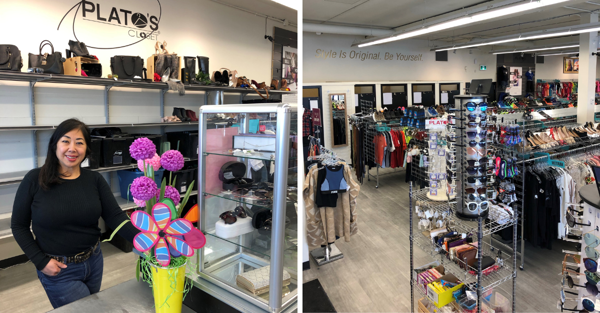 Left: Susan Chow at one of her Plato's Closet stores. Right: The interior of one of her Plato's Closet stores.
